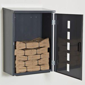 Lukittava seinäkaappi biojätepusseille